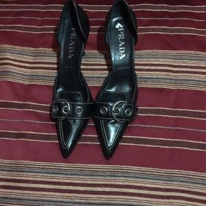 Black leather Prada shoes